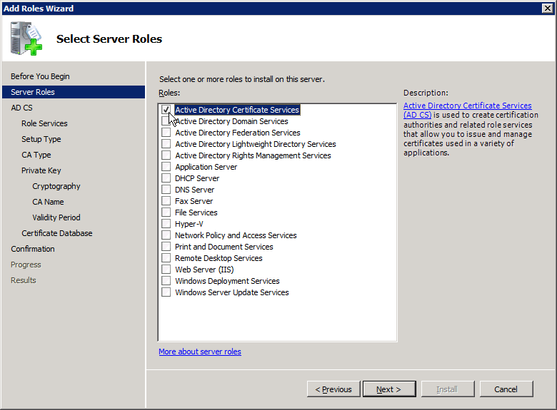 Add Active Directory Certificate Services AD CS Role 1