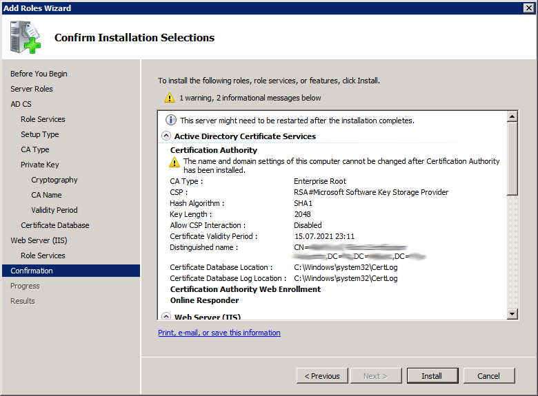 Add Active Directory Certificate Services AD CS Role 13