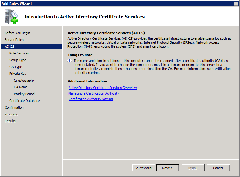Add Active Directory Certificate Services AD CS Role 2