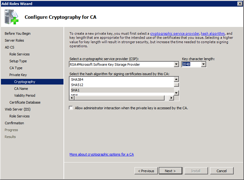 Add Active Directory Certificate Services AD CS Role 7