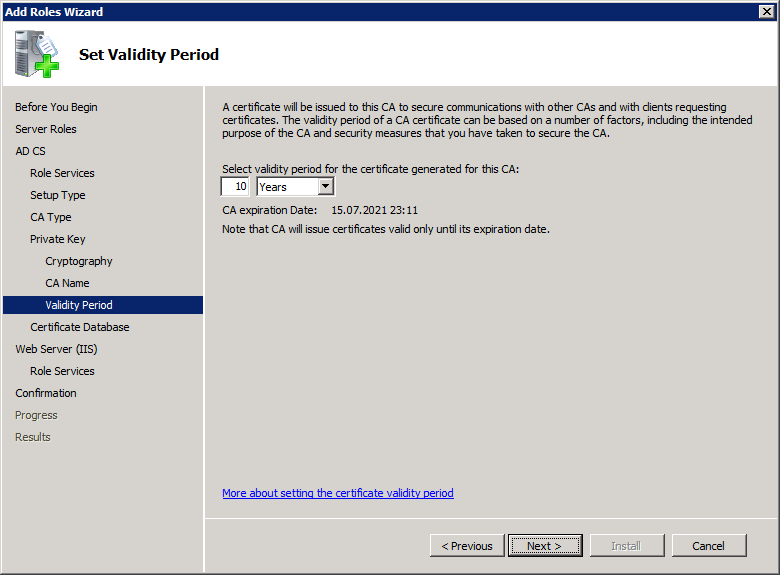 Add Active Directory Certificate Services AD CS Role 9