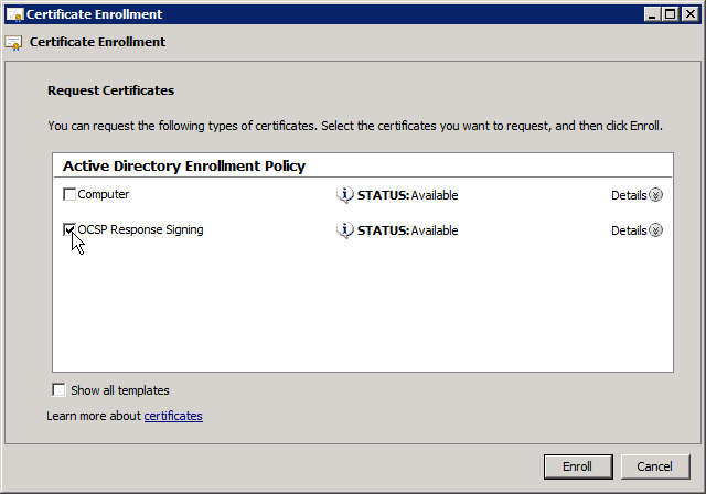 Certificate Enrollment Request 3 - OCSP Response Signing