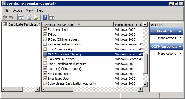 Certificate Templates - Select OCSP Response Signing Template