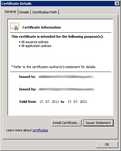 Check Root CA Certificate is OK (Step 2)