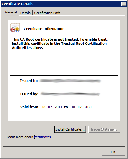 Check Root CA Certificate (not valid 1)