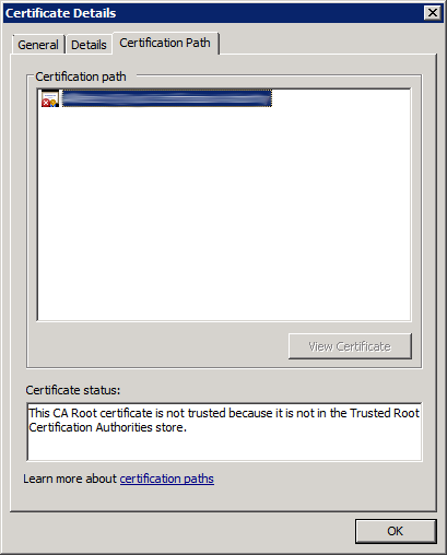 Check Root CA Certificate (not valid 2)