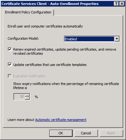 DC Computer Auto Enrollment Policy Settings