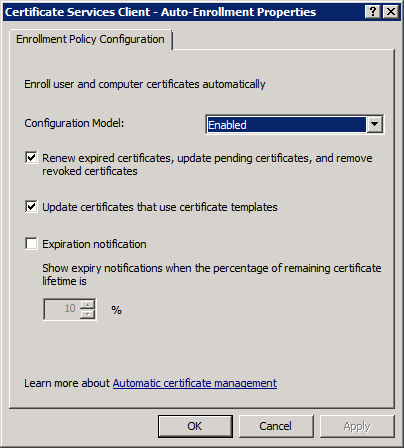DC User Auto Enrollment Policy Settings