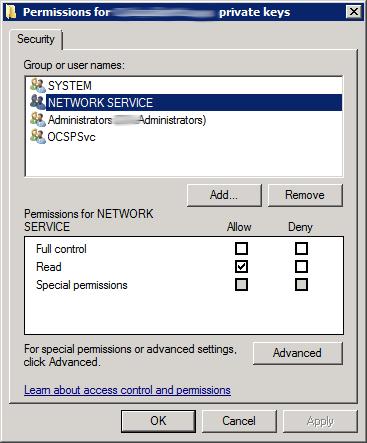 OCSP Certificate Permissions