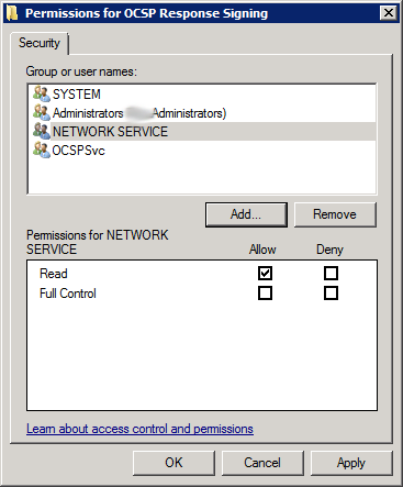 OCSP Response Signing Template Security Add Network Service right to Private Key 2