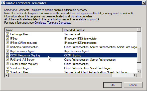 certsrv - Certificate Template to Issue - OCSP Response Signing