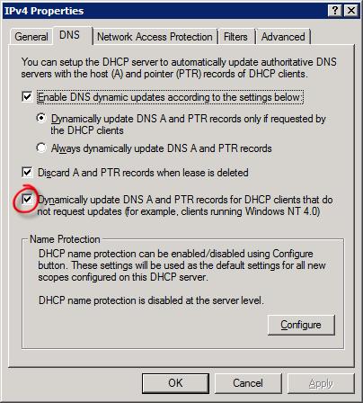Настройка DHCP для принудительного обновления DNS