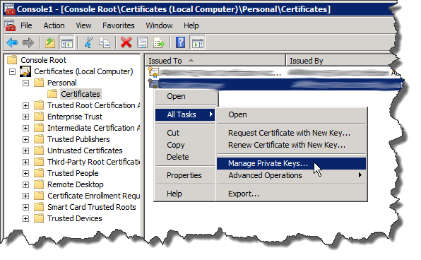 mmc - Certificates - Manage Private Keys