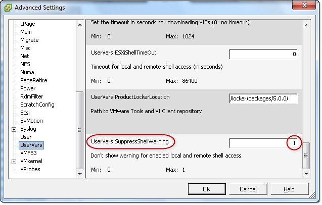 VMware ESXi5 Host - Software - Advanced Settings - UserVars.SupressShellWarning