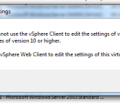 You cannot use the vSphere client to edit the settings of virtual machines of version 10 or higher. Use the vSphere Web Client to edit the settings of this virtual machine.